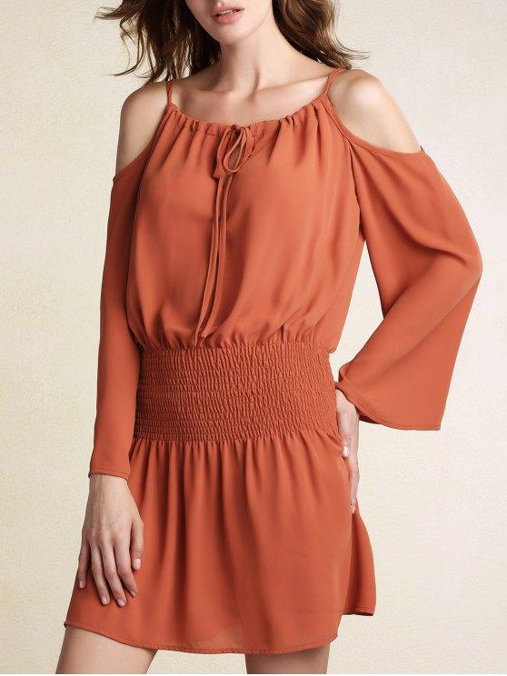 fashion Elastic Waist Spaghetti Strap Solid Color Dress - BRICK-RED L