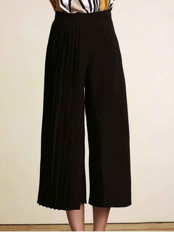 hot Black Pleated High Waist Wide Leg Pants - BLACK 2XL