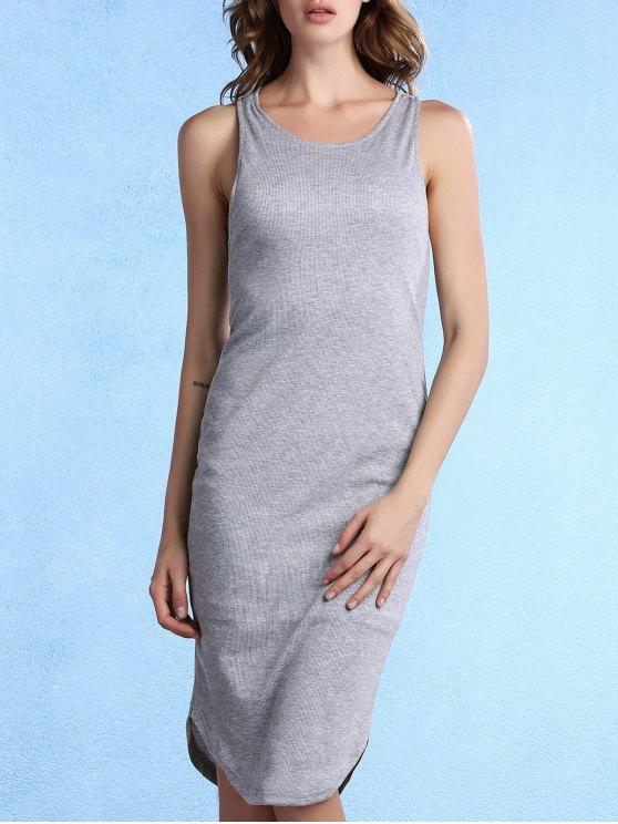 Solid Color Packet Buttock U-Ausschnitt ärmelloses Kleid - Grau S