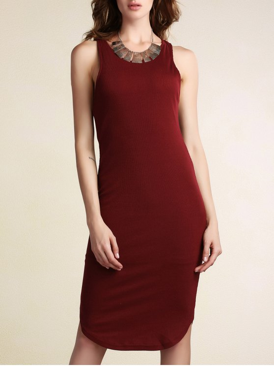 Color sólido paquete de glúteos T vestido sin mangas del cuello - Vino Rojo XL