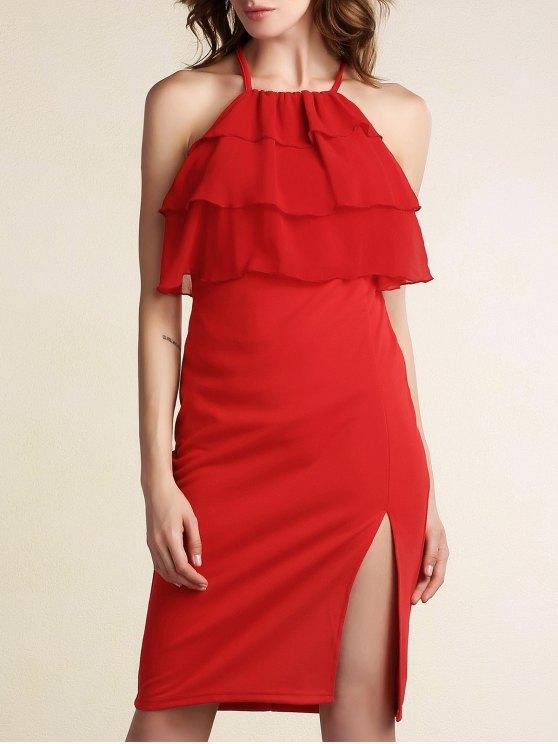 شكل طبقات الكشكشة الجبهة اللباس Bodycon - أحمر XL