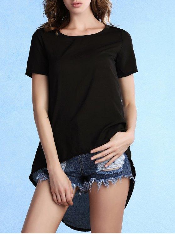 High-Low col rond T-shirt à manches courtes - Noir XL