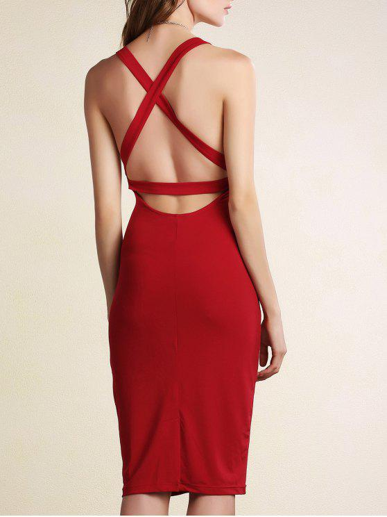ladies Hollow Back Sleeveless Bodycon Dress - DARK RED 2XL