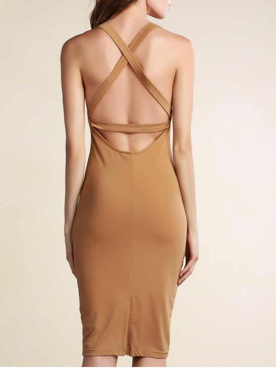 ladies Hollow Back Sleeveless Bodycon Dress - KHAKI L