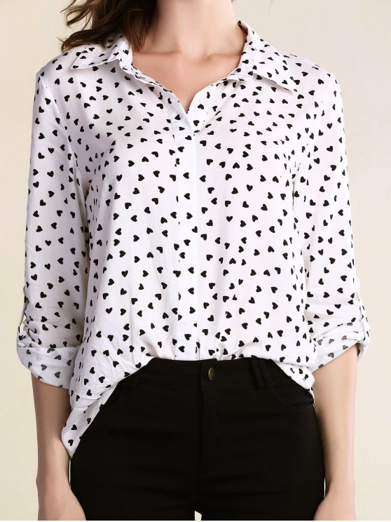 affordable Full Heart Turn Down Collar Long Sleeve Shirt - WHITE L