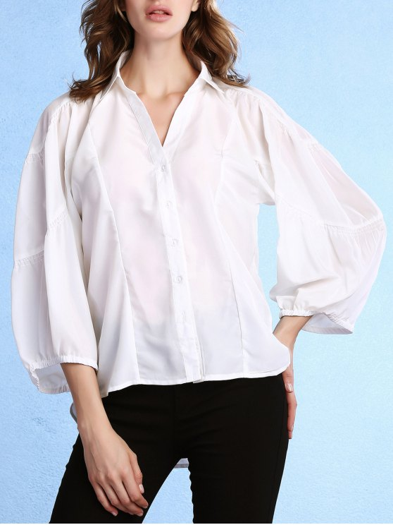 womens Lantern Sleeve Uneven Hem White Shirt - WHITE S