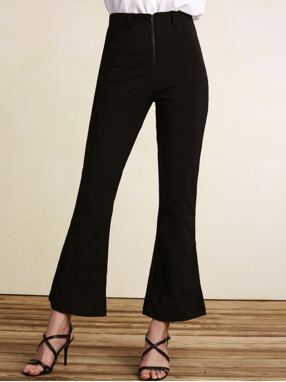 unique Black High Waisted Boot Cut Pants - BLACK 2XL