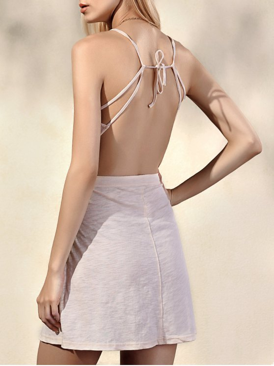 women's Fashion Backless Solid Color Spaghetti Straps Sleeveless Dress - BEIGE S