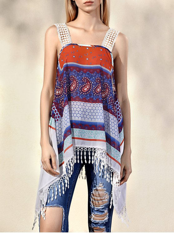 best Printed Straps Tassels Spliced Tank Top - COLORMIX L