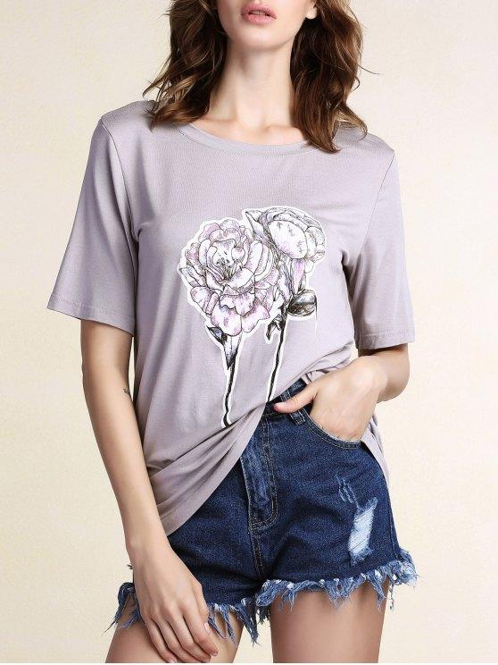 Flores Imprimir cuello redondo manga corta de la camiseta - Gris M