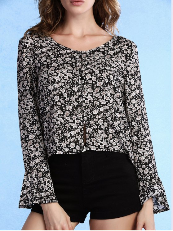 affordable Tiny Floral Print V-Neck Long Sleeve Blouse - BLACK 2XL