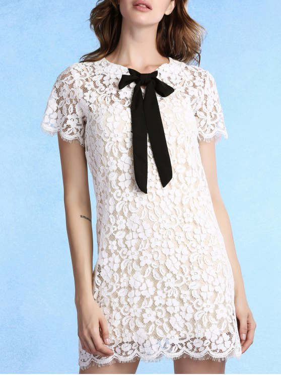 Vestido de encaje de manga corta de cuello de pajarita Ronda - Blanco XL