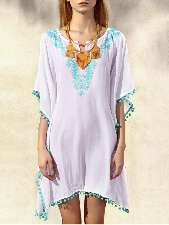 afa61d60b54e latest Wide Sleeve Laciness Loose Dress - WHITE AND GREEN ONE SIZE(FIT SIZE  XS
