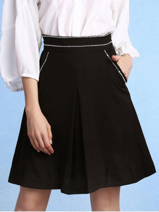 13f0e713ebf Black High Waisted Pockets A Line Skirt BLACK  Skirts M