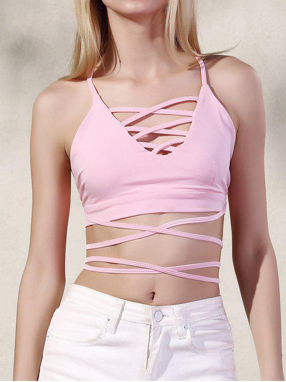 fashion Hollow Spaghetti Straps Tube Top - PINK L