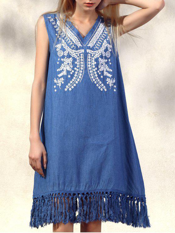 Retro Fringe Bestickt mit V-Ausschnitt ärmelloses Kleid - Denim Blau M