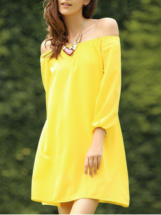 trendy Off The Shoulder Long Sleeve Chiffon Tunic Dress - YELLOW M