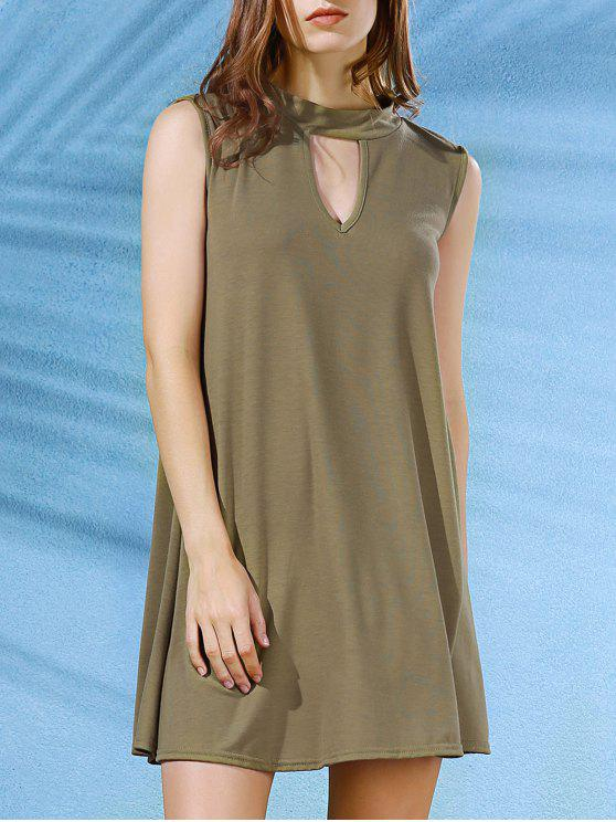 womens Sleeveless Swing Dress - ARMY GREEN L