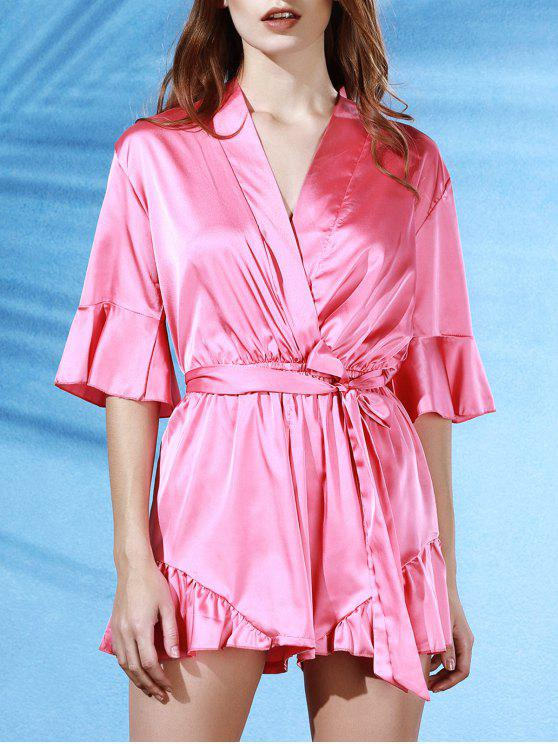 Flouncing Spliced ​​V-Neck manches papillon Wrap Romper - ROSE PÂLE S
