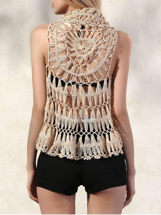 affordable Lapel Openwork Crochet Waistcoat - APRICOT ONE SIZE(FIT SIZE XS TO M)