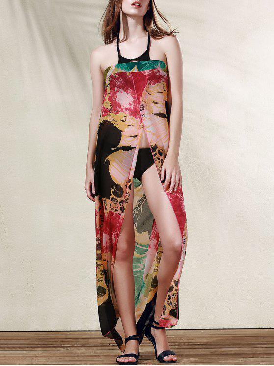 ladies Beach Printed High Slit Strapless Cover Up Dress - YELLOW ONE SIZE(FIT SIZE XS TO M)