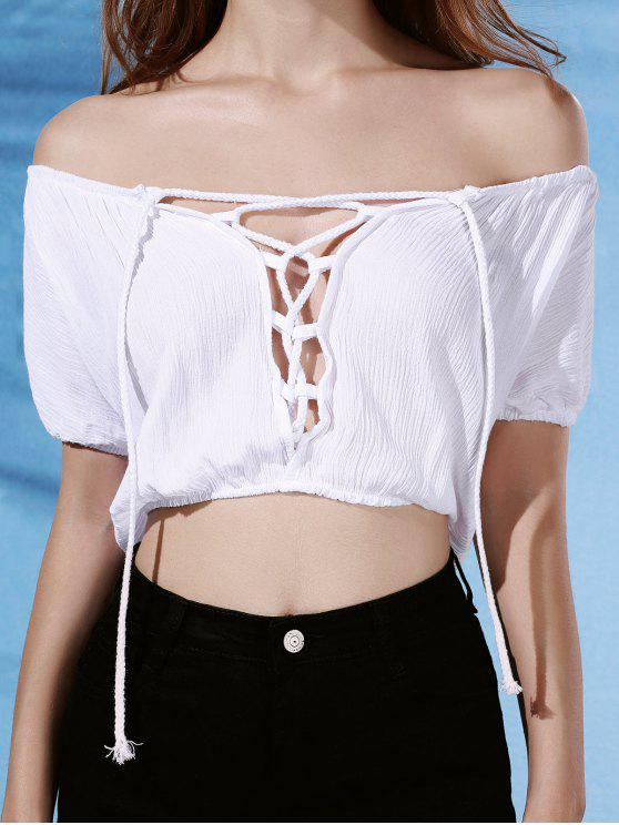 33e7b647985204 21% OFF  2019 White Lace-Up Short Sleeve Off The Shoulder Crop Top ...