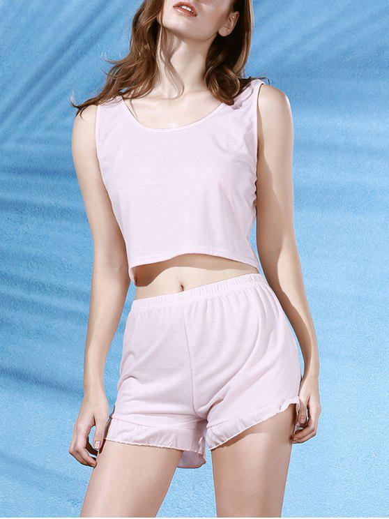shops Cropped Pink Tank Top and Ruffles Shorts Suit - LIGHT PINK M