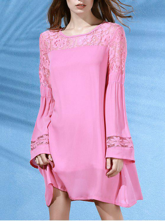 women's Lace Splice Round Neck Long Sleeves Dress - PINK M