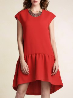Red Ruffles High Low Short Sleeve Dress - Red L