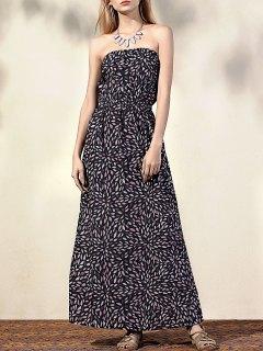 Impreso Conexión De Vestido Sin Tirantes Sin Mangas - Negro M