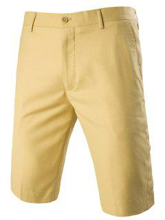 Casual Straight Legs Zip Fly Solid Color Shorts For Men - Yellow Xl