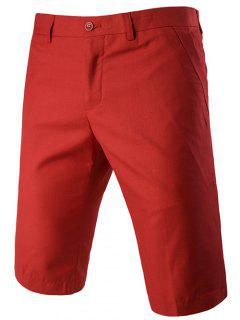 Casual Straight Legs Zip Fly Solid Color Shorts For Men - Red L