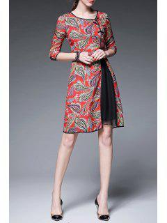 Print Three Quarter Sleeve Round Neck Dress - Red S