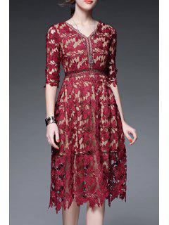 V Neck Crochet A Line Holiday Dress - Wine Red M