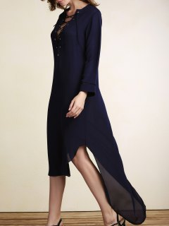 Lace-Up Irregular Hem Maxi Dress - Purplish Blue Xl