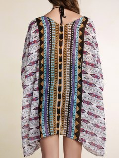 Printed Batwing Sleeve Cover Up
