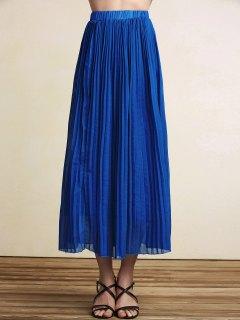 Pleated High Waist A-Line Skirt - Blue Xl