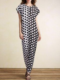 Polka Dot Print Round Neck Short Sleeve Maxi Dress - White And Black 2xl