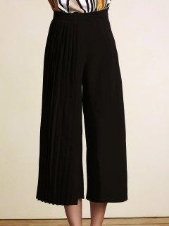 Negro Plisado Pantalones De Cintura Alta Pierna Ancha - Negro 2xl