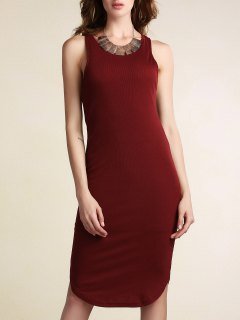 Solid Color Packet Buttock U Neck Sleeveless Dress - Wine Red M