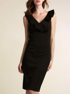 Black Flounce Ruffles Plunging Neck Work Dress - Black M
