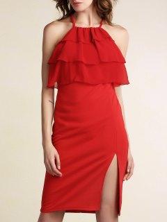 Vestido De Fiesta Rojo Con Gradas De La Colmena Del Frente - Rojo Xl