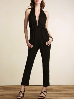 Plunging Neck Open Back Jumpsuit - Black 2xl