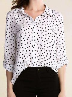 El Corazón Lleno Gira El Collar Abajo Camiseta De Manga Larga - Blanco S