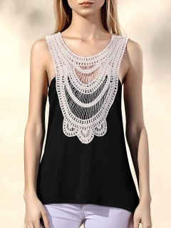Lace Patchwork Tank Top - Black S