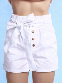 Color Sólido De Talle Alto Con Cinturón Pantalones Cortos - Blanco 2xl