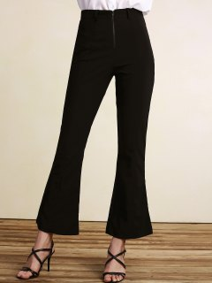 Black High Waisted Boot Cut Pants - Black S