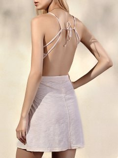 Fashion Backless Solides Bretelles Spaghetti Couleur Robe Sans Manches - Ral1001beige S