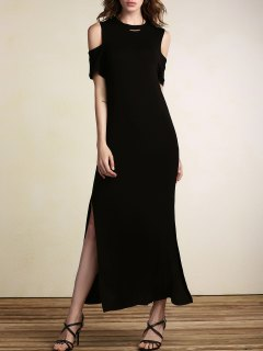 Coupe Cintrée Out Haute Maxi Dress Slit - Noir S