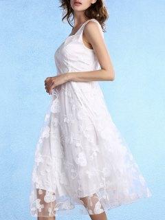 White Fitting Scoop Neck Sleeveless Lace Dress - White Xl
